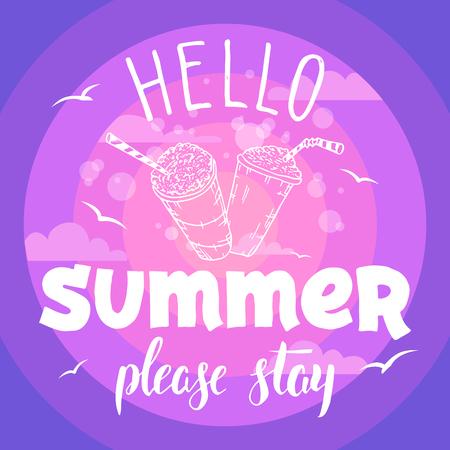 Hallo zomer, blijf alsjeblieft. Vintage hand tekening typografie partij flyer uitnodiging.