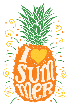 I love summer, Hand drawing typography illustration.