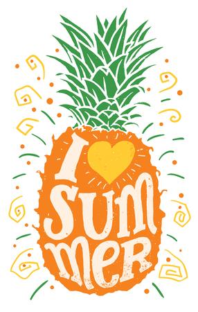Ik hou van zomer, Hand tekening typografie illustratie.