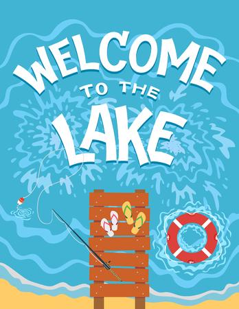 Welkom in het meer. Hoogste mening van de brug op het meer. Hand getrokken typografieillustratie op vlakke grafische achtergrond