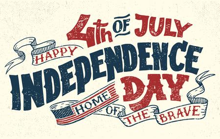 Feliz Cuarto de Julio. Día de la Independencia de los Estados Unidos, 4 de julio. Hogar de los valientes. Mano de letras tarjeta de felicitación con letras de textura. Ilustración de la tipografía del vintage.