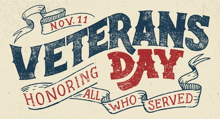 Veterans day, Honoring all who served. Hand lettering greeting card with textured handcrafted letters and background in retro style. Hand-drawn vintage typography illustration Illustration