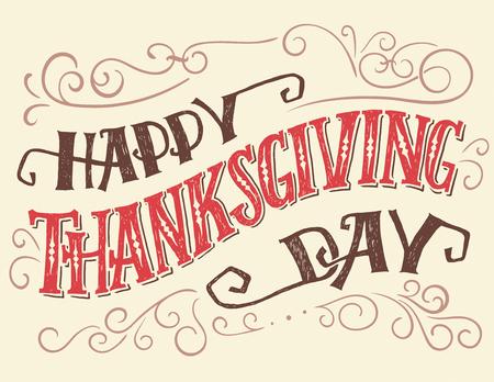 Happy thanksgiving day. Hand belettering citaat voor vakantie posters of kaarten. Handgetekende typografie met krullen