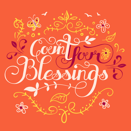 Tel uw zegeningen. Hand belettering citaat, typografie ontwerp Stock Illustratie