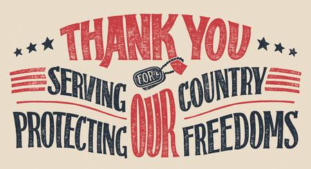 Dziękujemy za służenie naszemu krajowi i ochronę naszych wolności. Kartkę z życzeniami z napisem weteranów dnia. Wakacyjny ręcznie rysowane plakat typografii