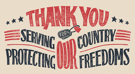 Thank you for serving our country and protecting our freedoms. Veterans day hand-lettering greeting card. Holiday hand-drawn typography poster