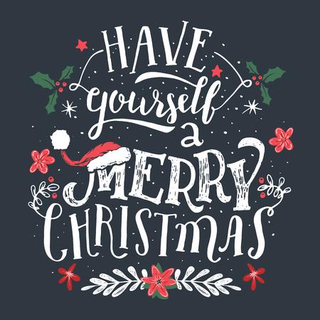 Heb jezelf een vrolijk kerstfeest. Hand belettering vakantie citaat. Kerst typografische ontwerp wenskaartsjabloon.