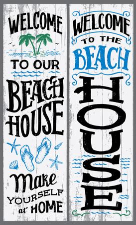 Bienvenido a nuestro cartel de casa de playa Ilustración de vector