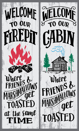 Welcome to our firepit and cabin sign Stock Illustratie