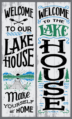 Welcome to our lake house sign