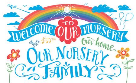 Our nursery hand-lettering headline set Ilustração