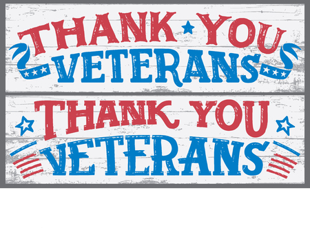 Thank you veterans. Veterans day hand lettering wood signs. National holiday vintage hand drawn typography design.