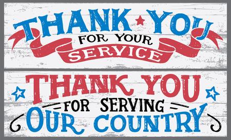 Gracias por tu servicio. Gracias por servir a nuestro país. Día de los veteranos rotulación a mano signos de madera. Fiesta nacional vintage diseño de tipografía dibujada a mano