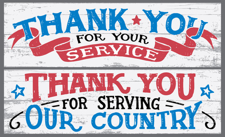Thank you for your service. Thank you for serving our country. Veterans day hand lettering wood signs. National holiday vintage hand drawn typography design