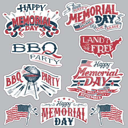 Happy Memorial Day. Barbecue party vintage labels. Set of holiday retro stickers. Hand-lettering with textured handcrafted letters and drawings