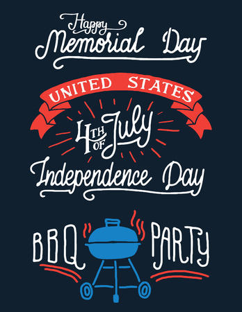 Happy memorial day and 4th of July. Barbecue party vintage labels. 向量圖像