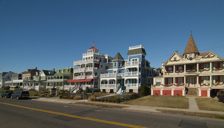 Painted Ladies historic ocean front victorian homes in Cape May, New Jersey