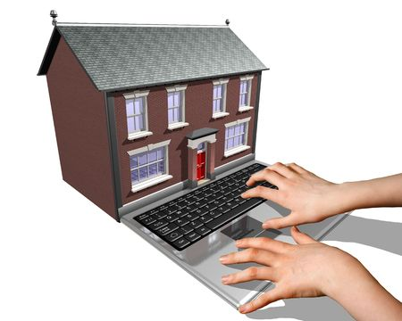 merged: A laptop merged into a house representing the buying of a new home on the Internet.
