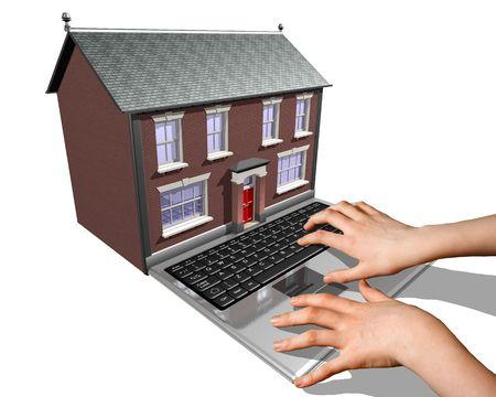 housing search: Un computer portatile fuse in una casa che rappresentano l'acquisto di una nuova casa su Internet.