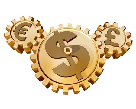 affect: Several cogs representing how the global currency markets affect each other