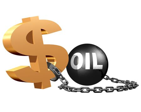 constraints: A dollar sign attached to a ball and chain symbolizing the constraints on the dollar by the oil markets