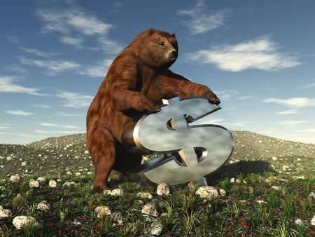 A bear bearing down on a dollar sign signifying