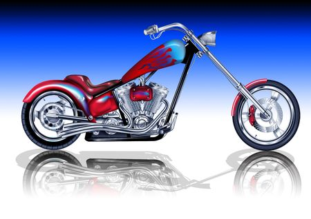 An illustration of a custom motorbike.