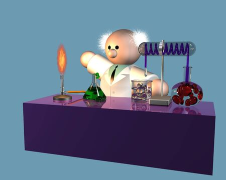 bunsen burner: A scientist pondering his experiment on the workbench Stock Photo