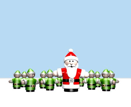 north pole sign: Santa standing at the North Pole surrounded by all his little helpers dressed in green