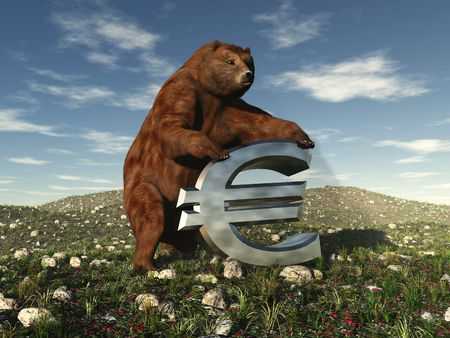 bear market: An illustration of a bear bearing down on a dollar sign signifying