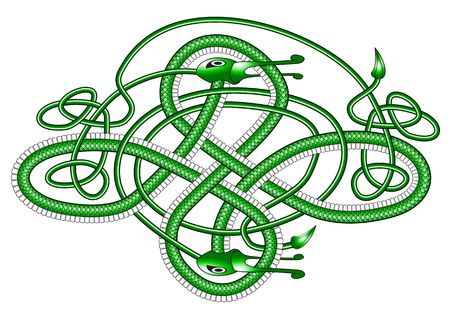 A green dragon in the form of a Cletic knot on a white background Stock Photo - 3087969