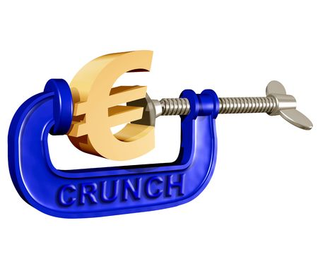 crunch: Illustration of a Euro symbol being squeezed in a crunch clamp