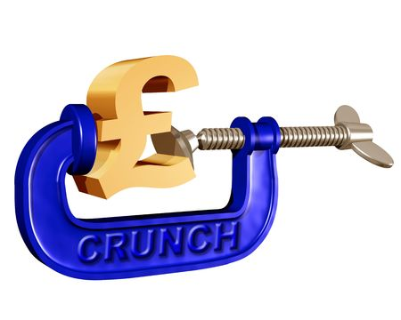 Illustration of a pound symbol being squeezed in a crunch clamp