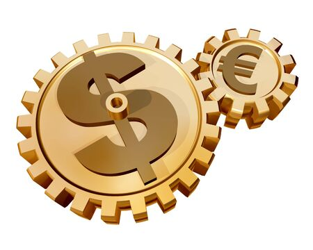 Illustration of two gears showing a relationship and influence of the dollar on the euro illustration