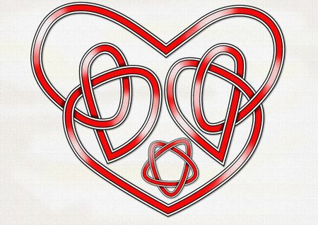 celts: An original Celtic knot in the form of a heart and interlocking hearts