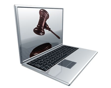 auction win: A laptop with a gavel on the screen representing Internet auctions