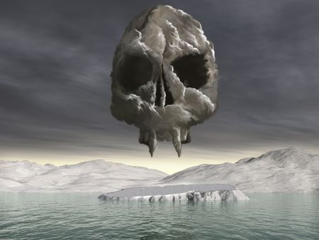 A cloud of co2 gas forming a skull over the North Pole photo