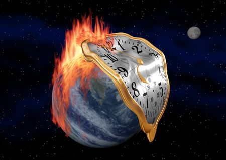 warming: A fob watch melting over a fiery earth.