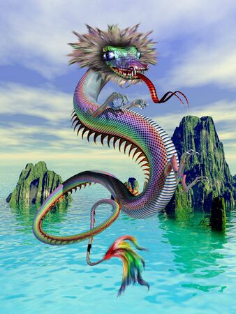 serpents: A Chinese dragon flying above a scenic watery backdrop Stock Photo
