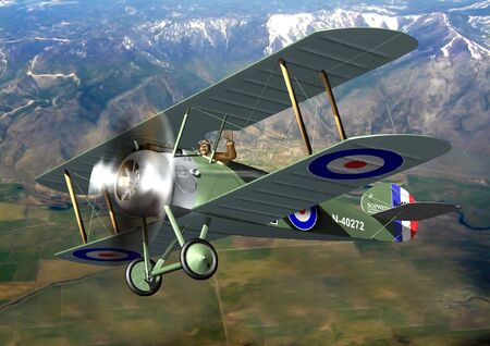 raf: An RAF Sopwith Camel flying high above a mountainous region