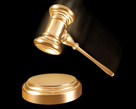 auction win: A golden gavel striking down on a block Stock Photo