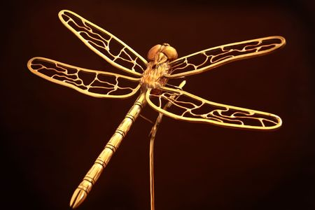 Large metal sculpture of a dragonfly  Stock Photo