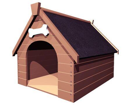 3D-isolierte Darstellung eines großen hölzernen Hundehütte oder Zwinger