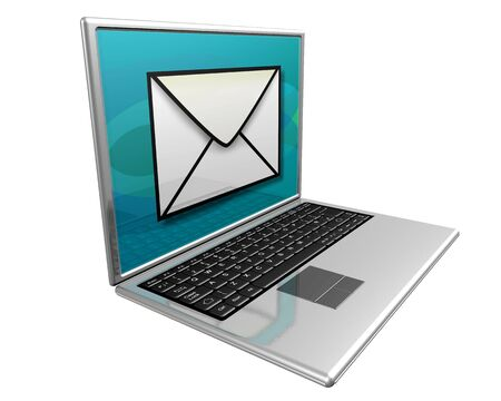 sent: Laptop computer displaying a large mail icon indicating 'you have mail' Stock Photo