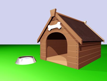 banish: 3D illustration of a large wooden doghouse or kennel with a bowl of water.