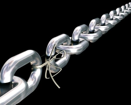 Impressive looking chain where one of the links has been replaced by a shoe lace. Stock Photo - 3125118