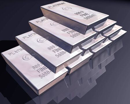 platinum: stack of pure platinum bars on a reflective surface.