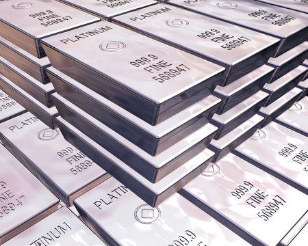 stacks of pure platinum bars on piles of bullion Stock Photo
