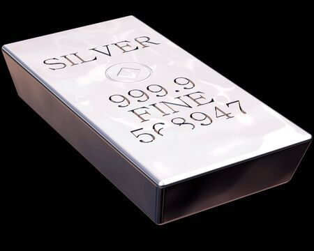 Single bar of pure silver isolated on a black background. Stock Photo - 3132426