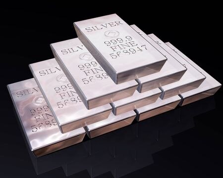 stack of pure silver bars on a reflective surface. Stock Photo